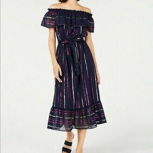 NWT Maison Jules navy foil striped midi dress